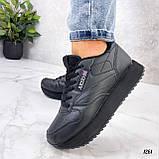 Стильные кроссовки женские черные эко-кожа, фото 2
