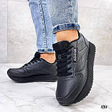 Стильные кроссовки женские черные эко-кожа, фото 4