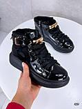 Женские кроссовки- хайтопы ДЕМИ черные на платформе эко лак, фото 3