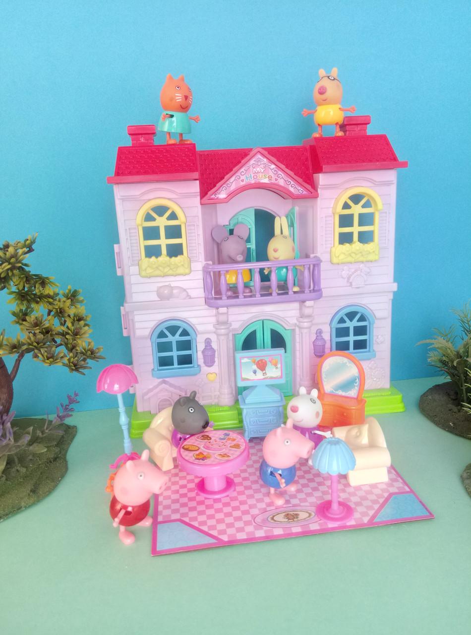 Игровой набор Розовый домик с балконом Свинки и ее друзей, 8 фигурок, мебель, звук