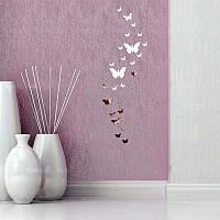 Наклейки бабочки Акриловые наклейка на стену декоративная зеркальная серебро 30 штук в упаковке