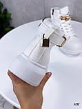 Кроссовки- хайтопы женские ДЕМИ белые эко кожа, фото 2
