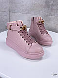 Кроссовки- хайтопы женские розовые ДЕМИ эко кожа, фото 2