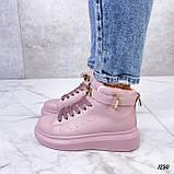 Кроссовки- хайтопы женские розовые ДЕМИ эко кожа, фото 3