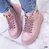Кроссовки- хайтопы женские розовые ДЕМИ эко кожа, фото 4
