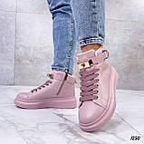 Кроссовки- хайтопы женские розовые ДЕМИ эко кожа, фото 5