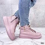 Кроссовки- хайтопы женские розовые ДЕМИ эко кожа, фото 6