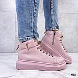 Кроссовки- хайтопы женские розовые ДЕМИ эко кожа, фото 7
