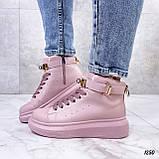 Кроссовки- хайтопы женские розовые ДЕМИ эко кожа, фото 8
