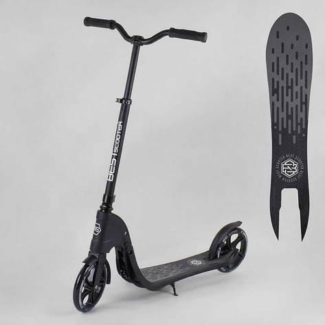 """Самокат двухколесный 72378 """"Best Scooter"""" (2) цвет ЧЕРНЫЙ, колеса PU - 20 см, широкий велосипедный руль, новый, фото 2"""