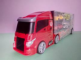 Красно-черный трейлер  с городскими машинками и вертолетом гараж-переноска