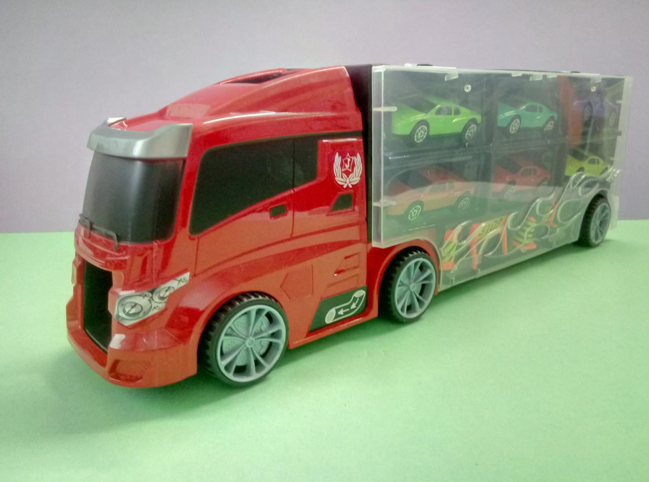 Красно-черный трейлер с гоночными машинками, гараж-переноска