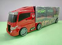 Красно-черный трейлер с гоночными машинками, гараж-переноска, фото 1