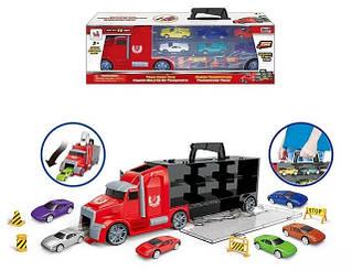 Ігрові трейлери вантажівки з машинками, гаражі-переноски