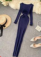 Женские трикотажные платья в рубчик синего цвета, 42/46, 6 цветов