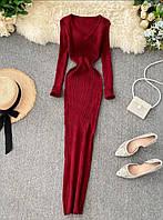 Женские трикотажные платья в рубчик марсалового цвета, 42/46, 6 цветов