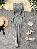 Женские трикотажные платья в рубчик серого цвета, 42/46, 6 цветов