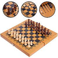 Шахматы, шашки, нарды 3 в 1 (фигуры-дерево, р-р доски 35x35см), фото 1