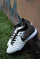 Мужские стильные футбольные сороконожки N!ke Tiempo (белые с чёрным)