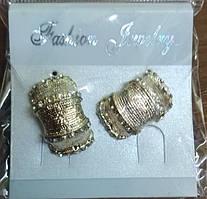 Сережки біжутерія золотисті з камінчиками