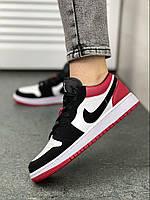 Женские кроссовки Nike Air Jordan 1 low белый/красный/чёрный