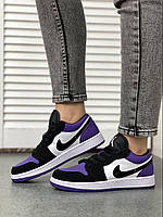 Женские кроссовки Nike Air Jordan 1 low белый//чёрный/фиолетовый