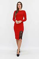 Женское платье красное с кружевом Размер 42 44 46 48 50 Модные платья женские, фото 1