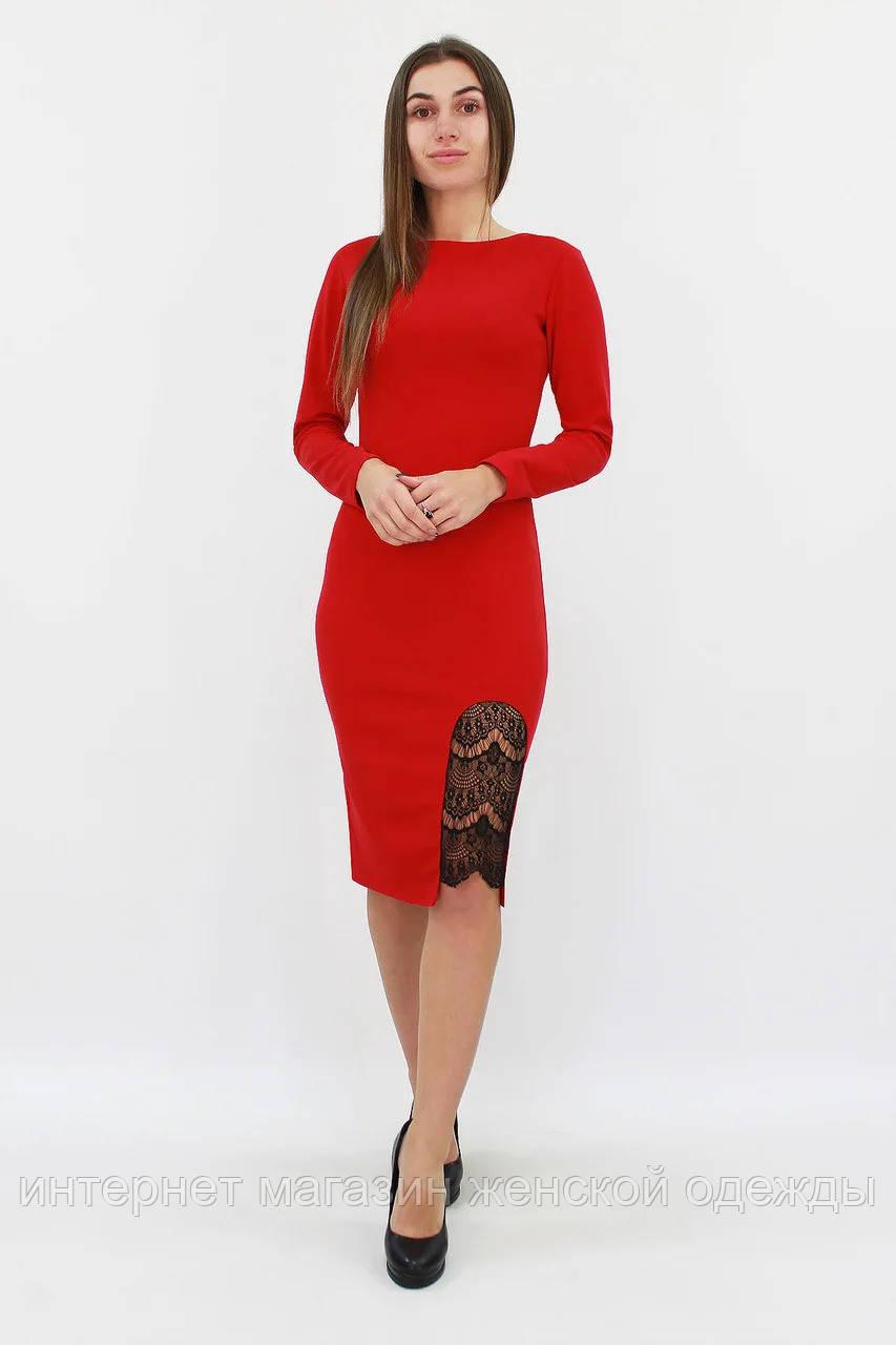 Женское платье красное с кружевом Размер 42 44 46 48 50 Модные платья женские