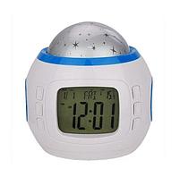Музыкальный ночник-проектор звездное небо 1038 с часами и будильником, фото 2