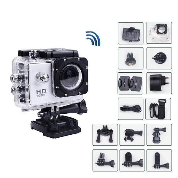 Экшн камера A7 FullHD + аквабокс + Регистратор Полный компект+крепление шлем СЕРЕБРО