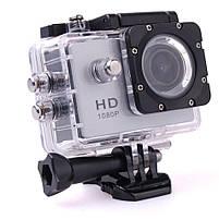 Экшн камера A7 FullHD + аквабокс + Регистратор Полный компект+крепление шлем СЕРЕБРО, фото 4