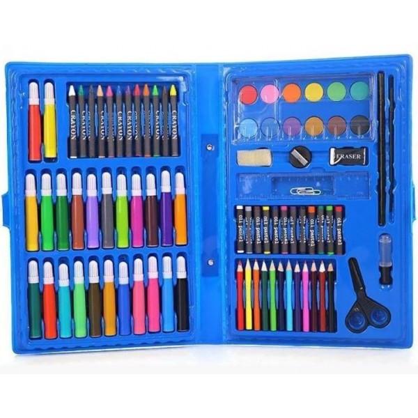 Набор для детского творчества и рисования Painting Set 86 предметов детский в чемоданчике Голубой