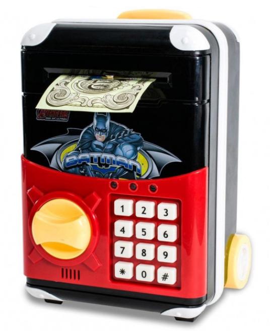 Игрушечный детский сейф 1808Z с электронным кодовым замком, копилка чемодан на колёсах Супергерои