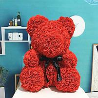 Мишка из 3D роз 40см в красивой подарочной упаковке мишка Тедди из роз оригинальный подарок, фото 4