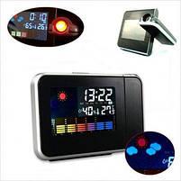 Часы метеостанция с проектором времени на стену Color Screen 8190 календарь, фото 2