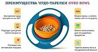 Детская тарелка-неваляшка Universal Gyro Bowl из экологически безопасного пластика, фото 8