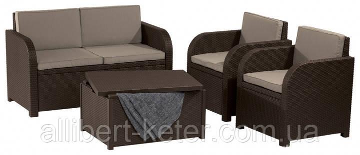 Комплект садових меблів Allibert by Keter Modena Lounge Set with Storage Table Brown ( коричневий )