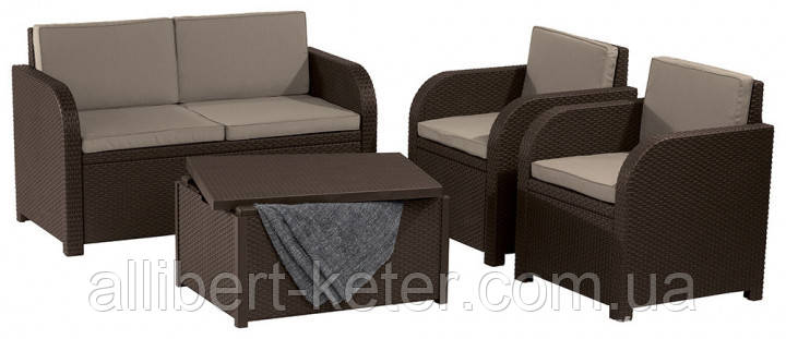 Комплект садовой мебели Allibert by Keter Modena Lounge Set with Storage Table Brown ( коричневый )