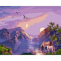 Картина рисование по номерам Babylon Закат в горах. Худ. Виктор Цыганов 40х50см VP182 набор для росписи,, фото 1