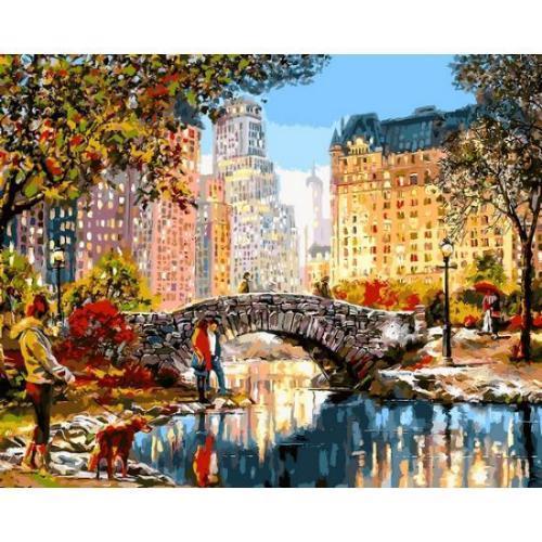 Картина рисование по номерам Babylon Осеннее утро в Нью-Йорке 40х50см VP1199 набор для росписи, краски, кисти,