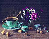 Картина рисование по номерам Brushme Кофе с макарунами     BK-GX31574 набор для росписи, краски, кисти, холст