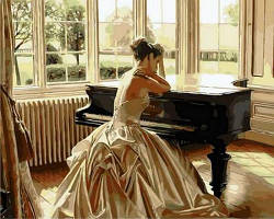 Картина рисование по номерам Mariposa Девушка у рояля. Худ. Роб Хэфферан 40х50см Q1270 набор для росписи,