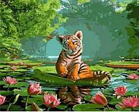 Картина рисование по номерам Mariposa Тигренок и лотосы 40х50см Q1264 набор для росписи, краски, кисти, холст