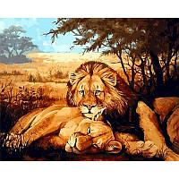 Картина рисование по номерам Mariposa Львиная идиллия 40х50см Q936 набор для росписи, краски, кисти, холст