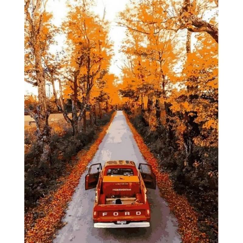 Картина рисование по номерам Mariposa Осенняя дорога 40х50см Q2188 набор для росписи, краски, кисти, холст