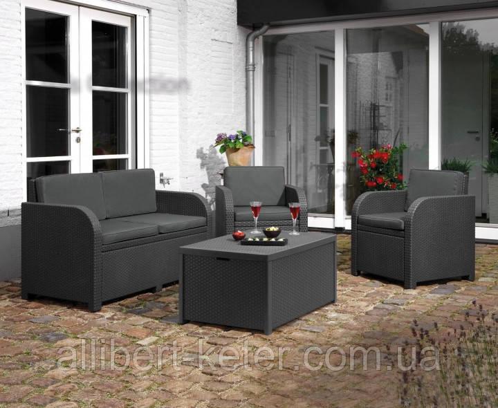 Комплект садових меблів Allibert by Keter Modena Lounge Set with Storage Table штучний ротанг