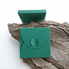 Подарунковий конверт-коробочка 70х70х8 мм з кольорового дизайнерського картону Зелений