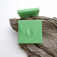 Подарунковий конверт-коробочка 70х70х8 мм з кольорового дизайнерського картону Салатовий