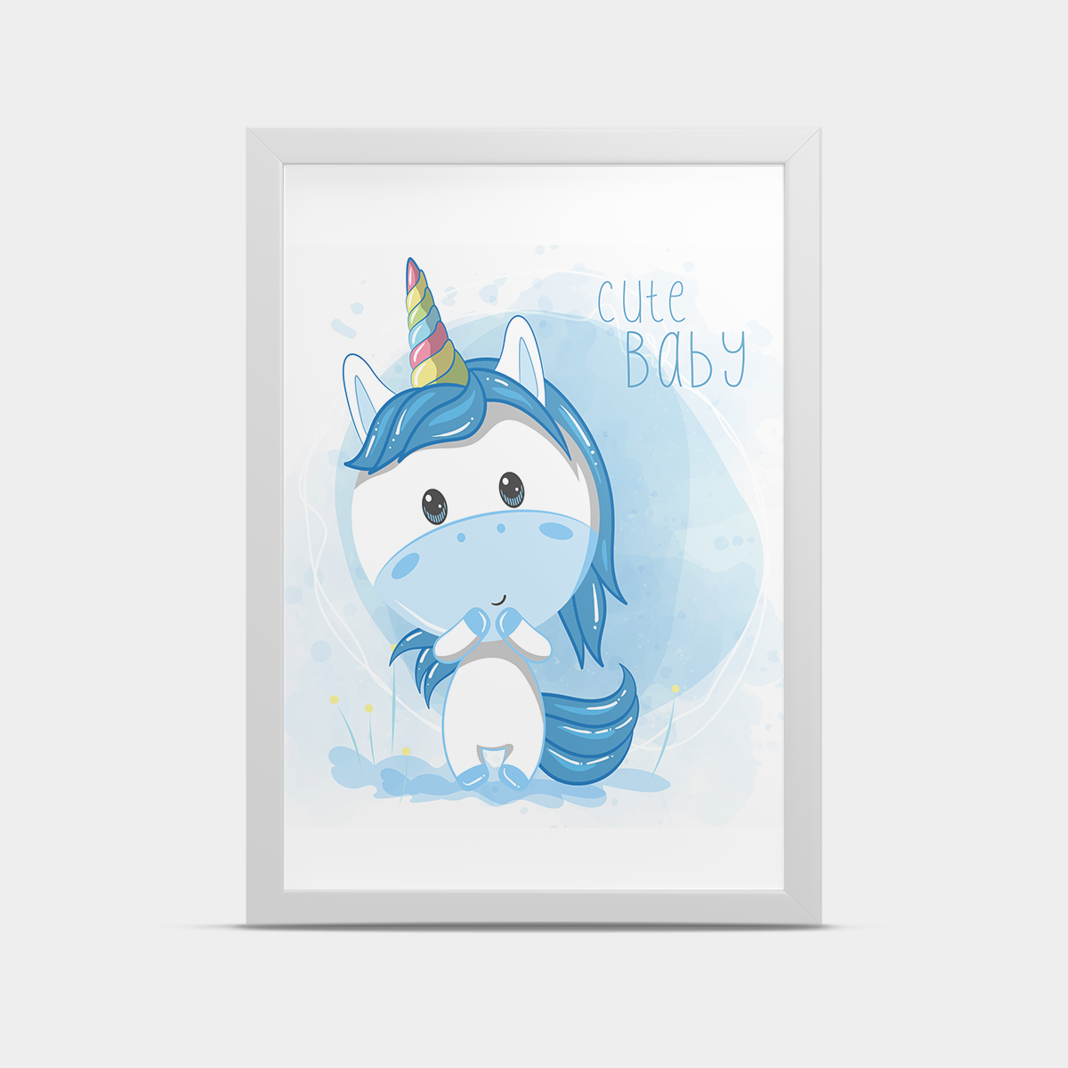 Постер на стену Единорог Голубой 30*40 см