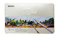 Набор акварельных карандашей Marco Raffine 12 цветов в металлическом пенале 7120-12TN